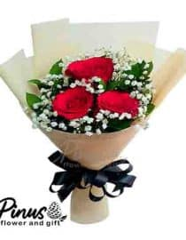 Home Hand Bouquet - Three Dance Roses