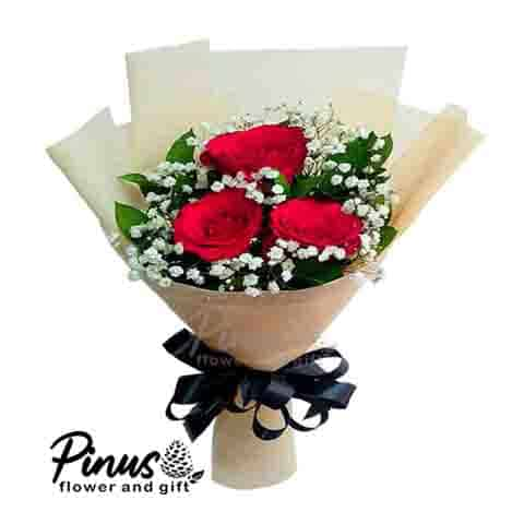 Home Hand Bouquet - 3 Dance Roses