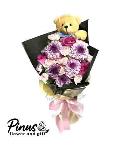 Home Hand Bouquet - Purple Roses Life