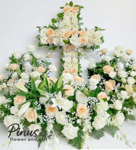Bunga Papan Duka CIta - Flower Cross Medium