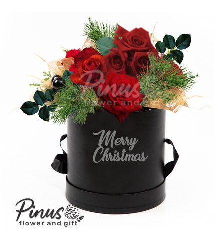 bunga meja natal - Red Rose Christmas Tube